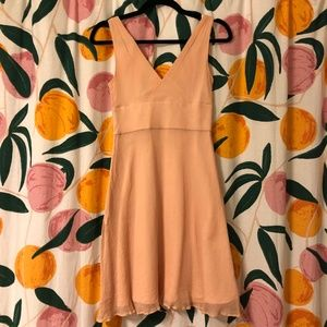 J. Crew Dresses - J Crew 100% silk chiffon dress v neck peach